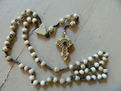 Victorian Stanhope Rosary Hand Carved Cow Bovine Bone Beads Virgin Mary Viewing