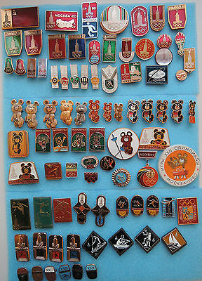 Collection 85 Vintage Pins Badges Moscow 1980 Olympic Games USSR Soviet Union