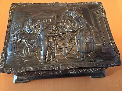 Vintage Japanese Ornate Metal Trinket Box With 18th Century Market Scene 13cm