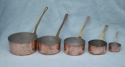 Set 5 Vintage French Small Copper Saucepans Graduated Tin Lined