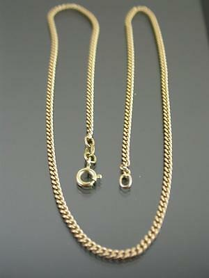 VINTAGE 9ct GOLD FLAT CURB LINK CHAIN NECKLACE 17 inch C.1980