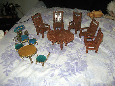 Vintage Doll Furniture Handmade Clothespin Tin Can Hand Made 11 Piece