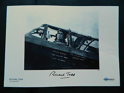 Dambusters 617 Squadron Richard Todd Signed Movie Print Thumbs Up Avro Lancaster