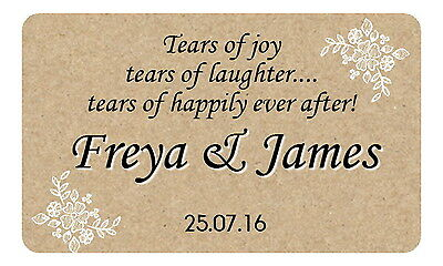 21  Tears Of Joy Personalised, Gloss Wedding Stickers For Tissue & Hankie Packs