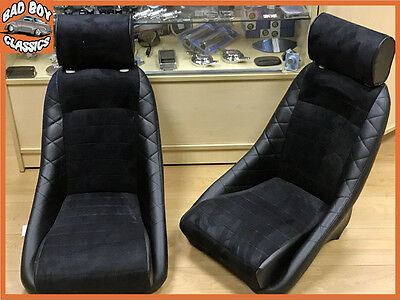 Pair BB1 GT Classic Car Sports Racing Bucket Seats Black / Alcantara UNIVERSAL