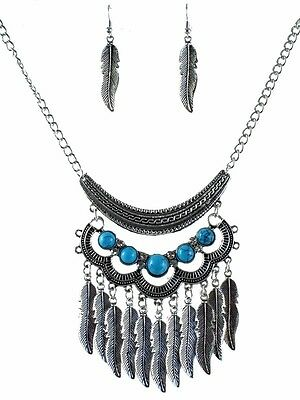 Wholesale Job Lot of 3 AntiqueStyle Silver Feather Chunky Necklace & Earring Set
