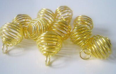 20 Gold Plated Spiral Cage Bead Findings 13x10mm Jewelry Supplies