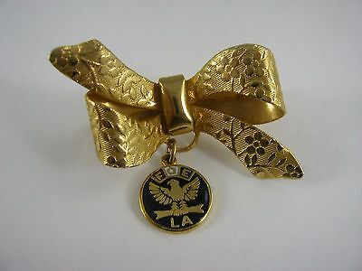 Vintage Collectible Pin: FOE LA Ribbon Bow Design Fraternal Order of Eagles