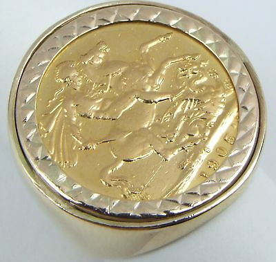 9 & 22Carat Yellow Gold King Edward VII 1905 Full Sovereign Coin Ring UK Size P