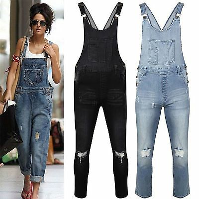 Womens Ladies Celeb Denim Jeans Full Length Pinafore Overall Jumpsuit Dungaree
