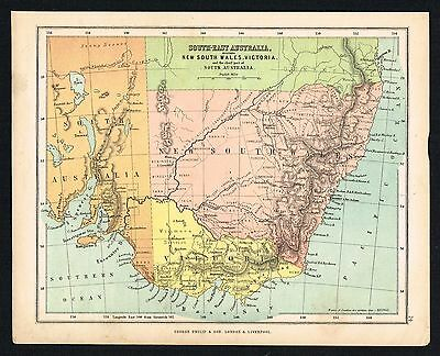 1850 Antique Victorian Map - South East, New S.Wales, Australia - Phillips