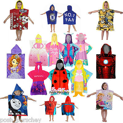 Official 3D Character Cotton Poncho Bath Beach Swimming Hooded Towel Boys Girls