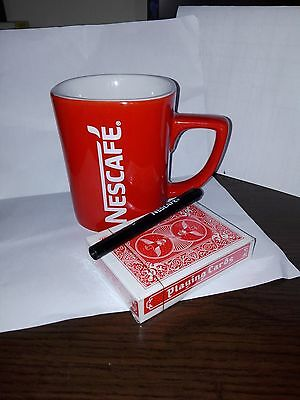 Nescafe Classic Coffee Red Mug Cup & 54 Plastic Playing Cards & Nescafe Μarker