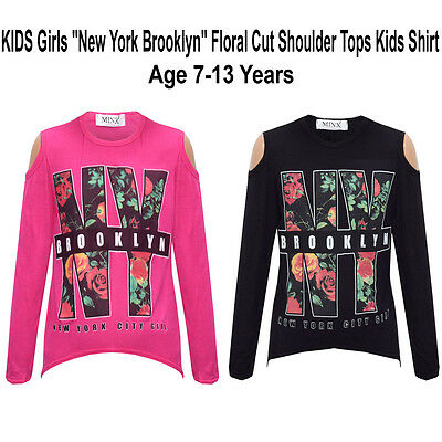 "Girls ""New York Brooklyn"" Floral Cut Shoulder Tops Kids Shirt"