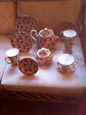 Royal Albert Chintz Collection Old Country Roses Ten Piece Tea Set