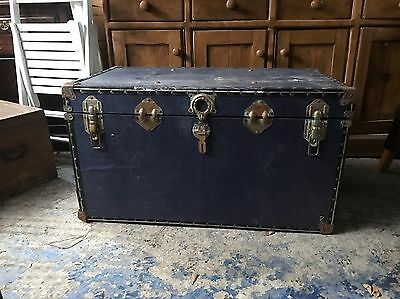 Blue Trunk Chest Box Coffee Table Vintage Industrial Rustic Can Deliver