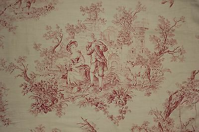 Antique Toile de Jouy fabric pink material c 1900 curtain panel small