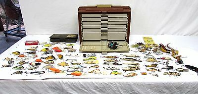 Huge lot of about 70 Fishing lures and tackle with tackle box Plano 777