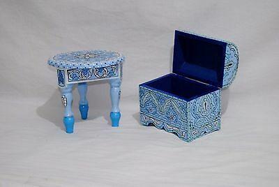 """Box and Table Vintage Reproduction Handpainted Moroccan Wood  9,05""""D X 10,23""""H"""