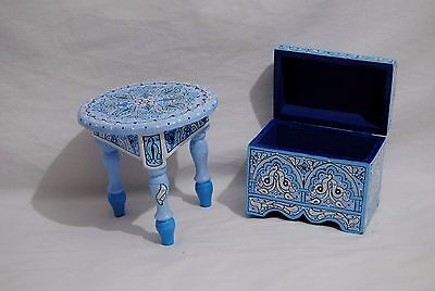 """Box and Table Vintage Reproduction Handpainted Wood Moroccan 9,05""""D X 10,23""""H"""
