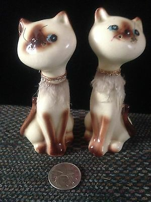 "Vintage Lego 4"" Siamese Salt Pepper Cats W/fur"