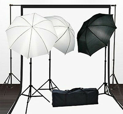 675w Photo Video 3-Point Continuous Umbrella Lighting Kit w/ 2pc Backdrop Kit