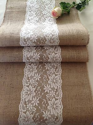 Natural Hessian/Burlap and Pretty Ivory Wide Flower Lace Table Runner