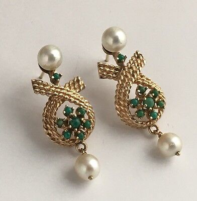 Antique Victorian Vintage 14K Yellow Gold Delicate Turquois & Pearl Post Earring