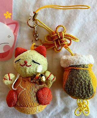 Phone Charm CAT Bell and Bag New with Tags RARE Very Cute Lucky Chinese New Year