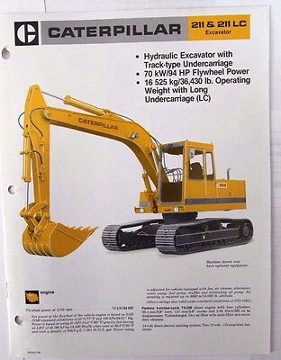 Caterpillar 211LC Hydraulic Excavator Original Sales/specification Brochure