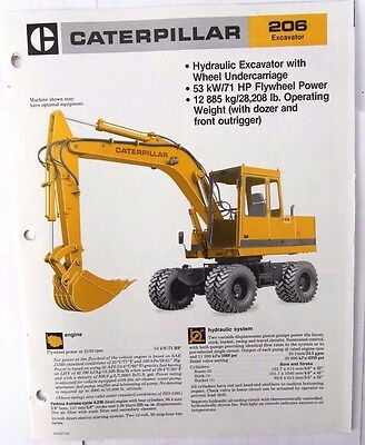 Caterpillar 206 Hydraulic Excavator Original Sales/specification Brochure