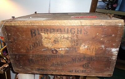 Vintage Antique Burrough's Adding Machine Wood Box Shipping Crate advertising