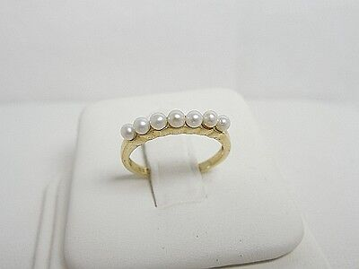 GOLD STACK RING  Freshwater Pearl Stack Ring 10kt Yellow Gold