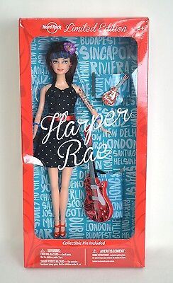 NEW Hard Rock Cafe Doll Limited Edition Harper Rae w Guitar & Collectible Pin