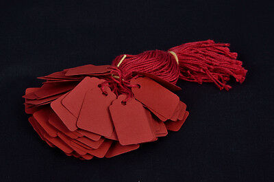 100 Red Strung Price Tags 29Mm X 19Mm Swing Tickets
