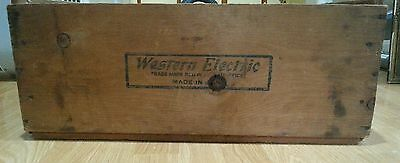 Vintage Western Electric Wood Wooden Crate Large Advertising Box