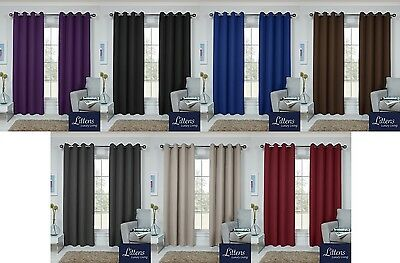 Thermal Light Reducing Sun Blockout Pair Curtains, Eyelet Ring Top, Soft Touch