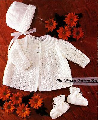 BABY BONNET,JACKET & BOOTEES / D.K. or 8ply  - COPY  baby knitting pattern