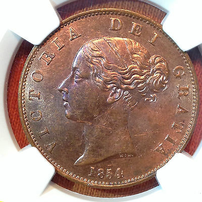 1854 Great Britain Half Pence 1/2P NGC MS 63 RB