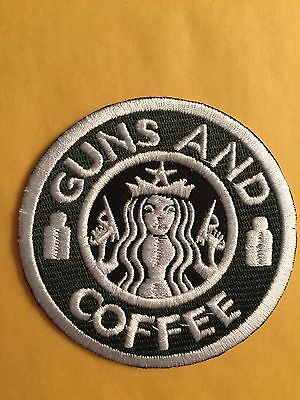 Guns And Coffee Starbucks Usa Army Morale Patch Iron On Or Sew On