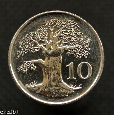 Zimbabwe 10 Cents 2002. Africa coin . UNC. KM3a. Plant trees.