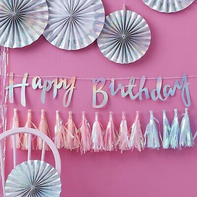 MULTI LISTING - Happy Birthday Bunting Script Letters GINGER RAY 18th, 21st etc