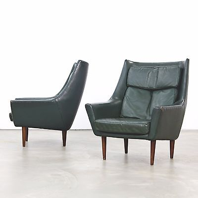 Two Danish Lounge Chairs attr. Hans Olsen, with Dark-Green Original Leather