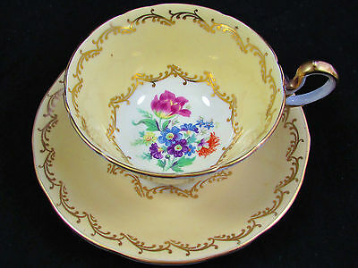 Aynsley Buttercream Fancy Gold Floral Tea Cup And Saucer
