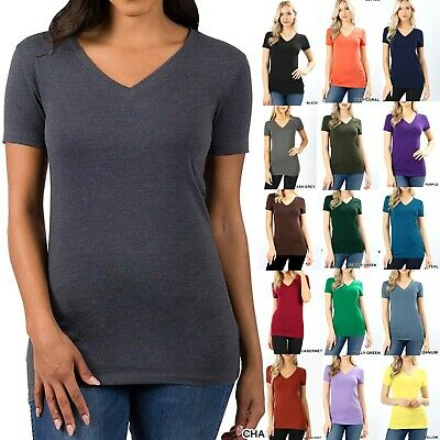 BASIC V-NECK SHORT SLEEVE Womens T-Shirt Top Stretch Fitted Casual Plain 3009