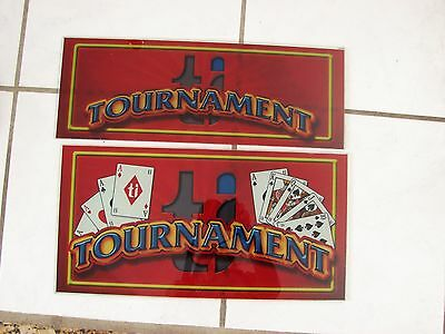 "Glass Tournament  2 pce Casino Slot Sign rectangular card game17 1/4"" L"
