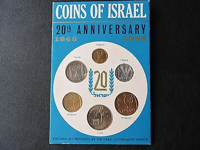 Coins of Israel 1948 1968 20th Anniversary set of 6 coins, UNCIRCULATED