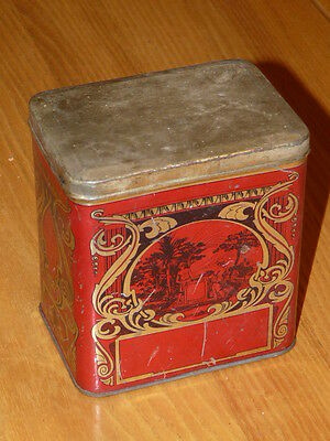 Nice Old Antique Vintage Red Tin Box