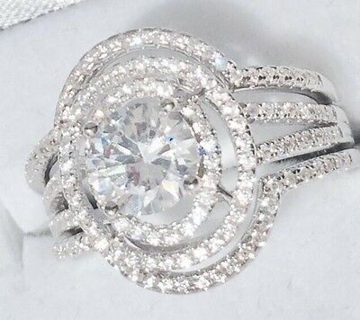 Simulated Diamond Engagement 3 X Ring SET Sterling Silver 925 Size 6 7 8 9
