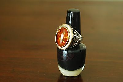 Men's Sterling Silver Ring with large oval Amber